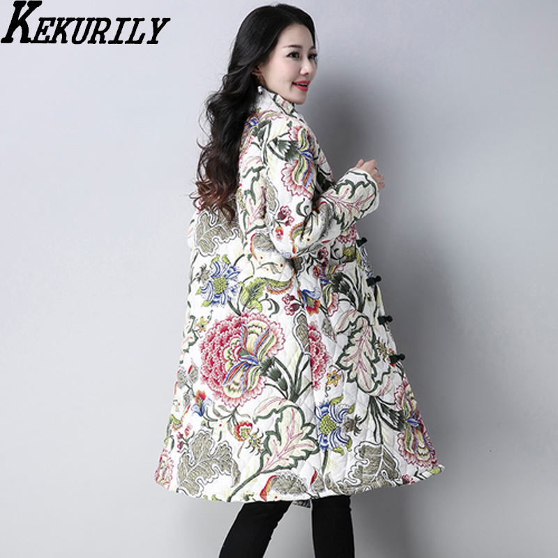 ba7c4172d4 KEKURILY women cotton linen warm thick whiter coat floral elegant noble  vintage parkas female ancient Chinese style jacket -in Parkas from Women s  Clothing ...