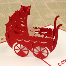 DoreenBeads Creative 3D Cards Invitations Newborn Baby Blessing Card Baby Carriage Paper Cutting Folding Card for Baby Shower