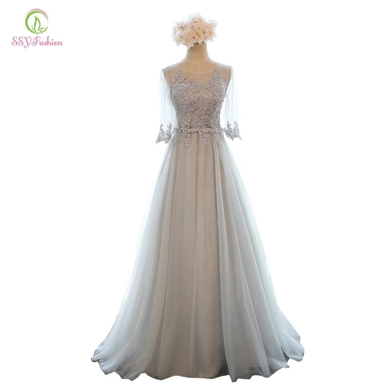 Ssyfashion Long Sleeve Wedding Dresses The Bride Elegant: SSYFashion Evening Dress Long Lace Embroidery Half Sleeve