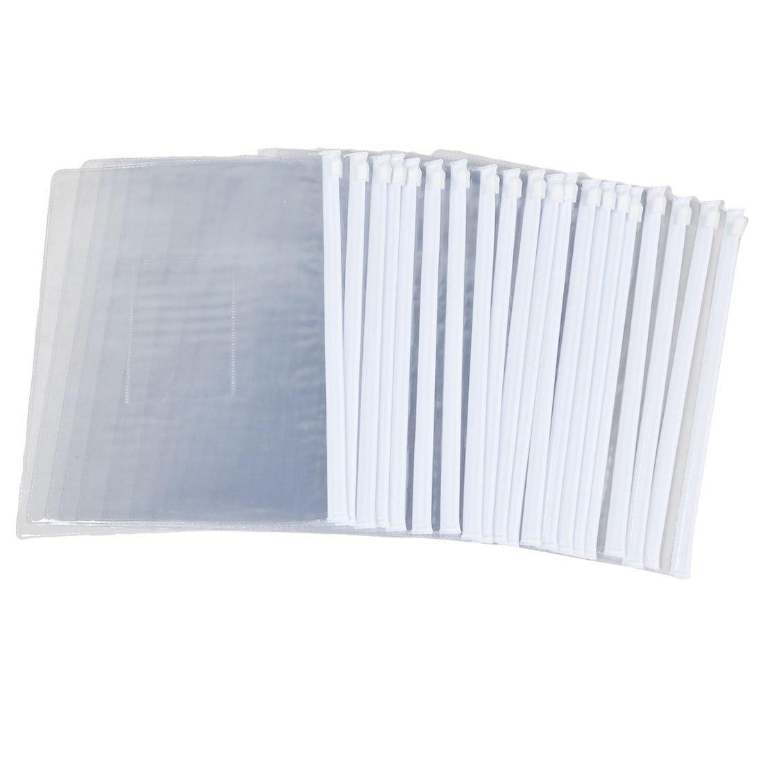 SOSW White Clear Size A5 Paper Slider Zip Closure Folders Files Bags 20 Pcs|a5 folder|bag document|bag creative - title=