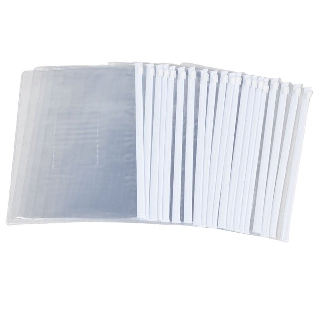 SOSW-White Clear Size A5 Paper Slider Zip Closure Folders Files Bags 20 Pcs