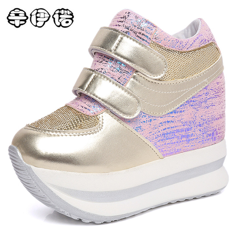 Wedges Sequins Shoes Woman Platform Vulcanized Shoes Hidden Heel Height Increasing Casual Shoes female chaussure femme Size US8. women sandals 2017 summer style shoes woman wedges height increasing fashion gladiator platform female ladies shoes casual