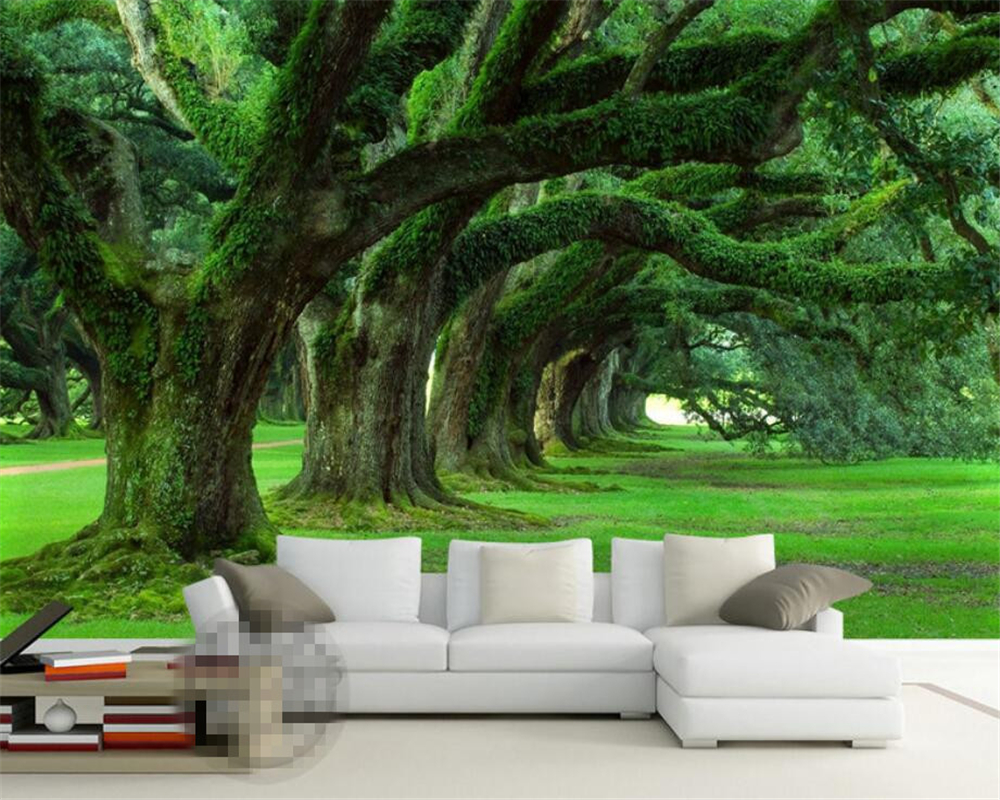 Beibehang 3D wallpaper Modern minimalist TV backdrop fresh green tree forest living room bedroom mural wallpaper for walls 3 d modern simple romantic snow large mural wallpaper for living room bedroom wallpaper painting tv backdrop 3d wallpaper