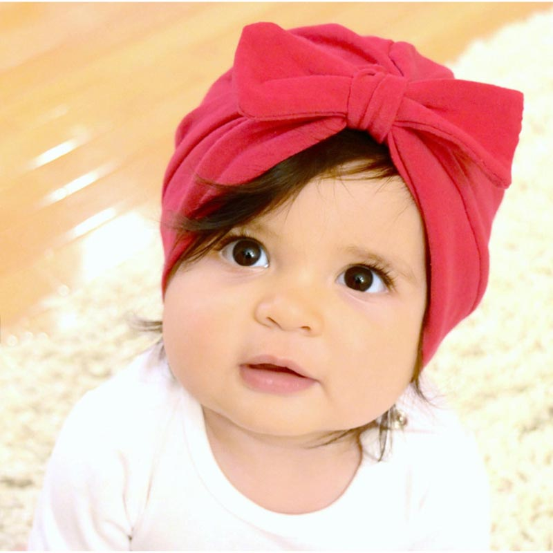 MIXIU 1pcs Solid Cotton Big Bow Hat Baby Kids Headbands Soft Comfortable Caps Newborn Baby Turban Handmade Hair Accessories