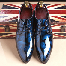 RUIDENG men party Dress shoes fashion wedding casual Patent Leather Male Casual Flats high quality