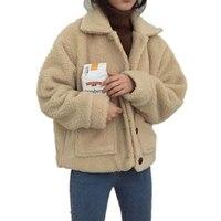 Autumn Winter Women Faux Lambswool Jacket Coat Warm Vintage Short Jacket Female Streetwear Outerwear Chaqueta Mujer Coats Q890