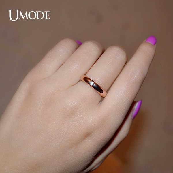 Umode 18 К роуз позолоченные полировать 4 шт. диаманта CZ флеш установка обручальное кольцо кольцо для женщин JR0139A