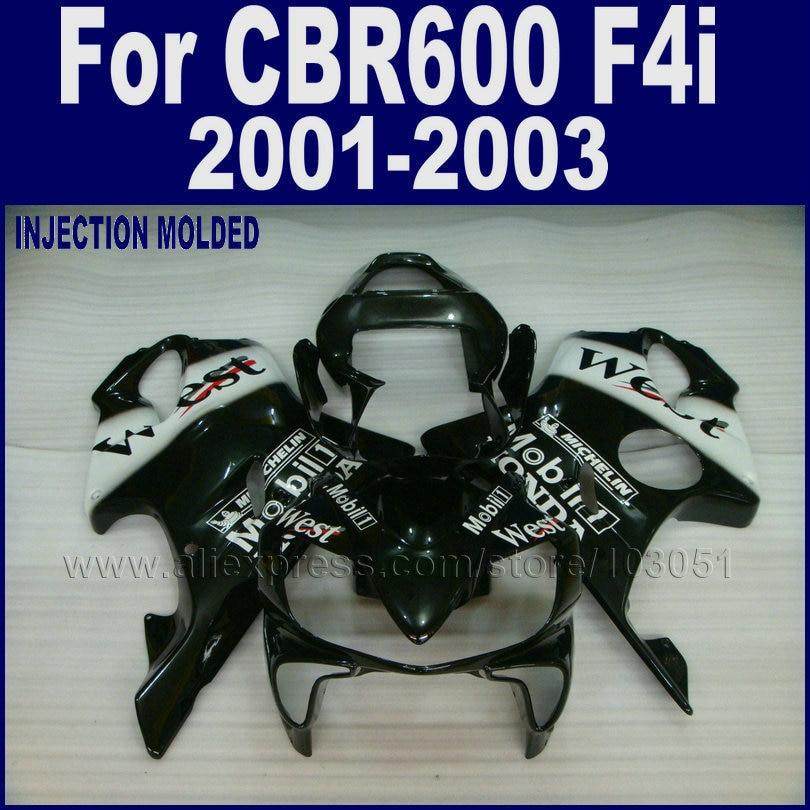 Race Road fairings kit for Honda CBR 600 F4i fairing kits 2001 2002 2003 CBR 600 F4i 01 02 03 black west aftermarket body parts