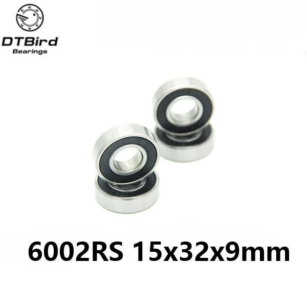 Black Rubber Sealed Ball Bearing Bearings 6002RS 5pcs 6002-2RS 15x32x9 mm