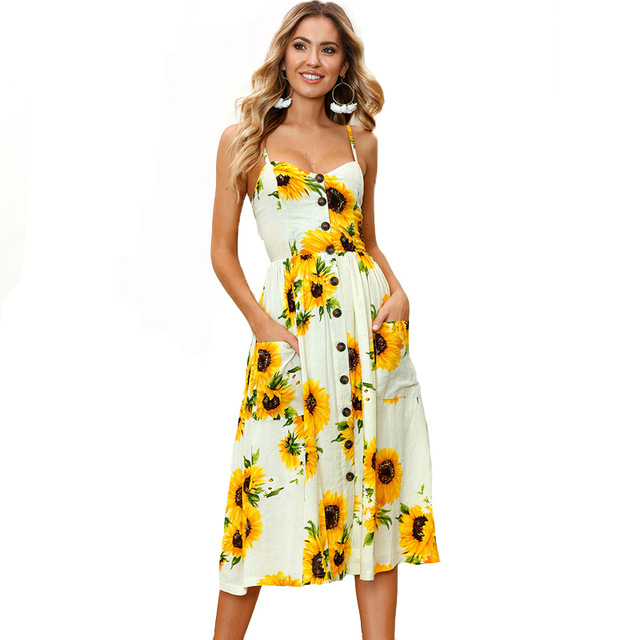 2018 Sarafan Summer Sunflower Pineapple Daisy Floral Print Beach Dress Women Tunic Sexy Strap Backless Slim Waist Midi Vestidos