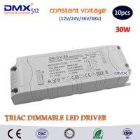 DHL Free Shipping 10PCS 30W DC12V 24V 36V 48V Triac Dimmable Constant Voltage Led Driver AC90