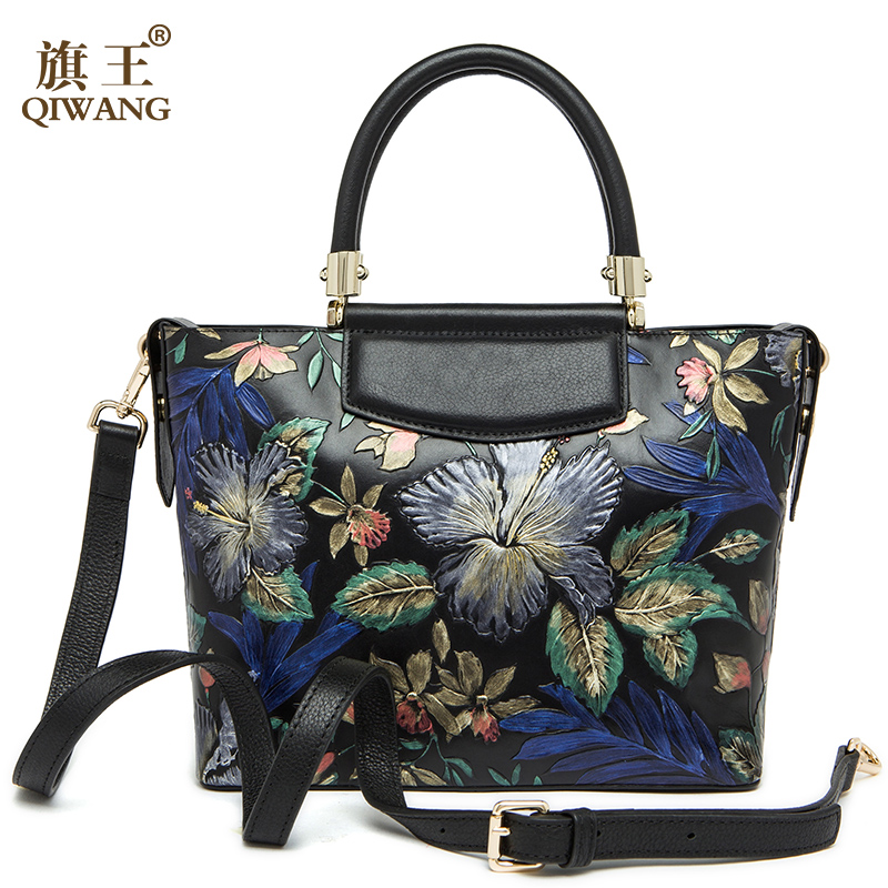 Qiwang Real Leather Handbag Women Love Chinese Style Lady Bag Vintage Real Leath
