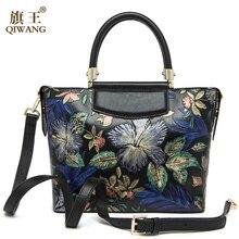 Qiwang Mujer Bolso de Cuero Real Amor Estilo Chino Bolso de La Señora Hombro de Cuero Real Del Bolso de Las Mujeres Bolsos de Diseño de Lujo de La Vendimia