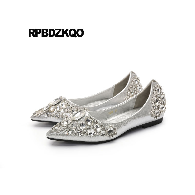 Silver Flats For Wedding.Rhinestone Beautiful Silver Bling Pointed Toe Flats Wedding Ballet Shoes Dress Crystal Ballerina Women Diamond Slip On Ladies