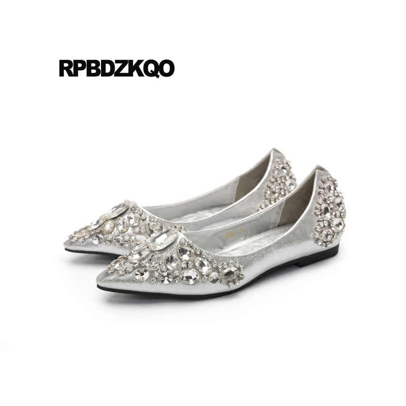 8d96094c0 Rhinestone Beautiful Silver Bling Pointed Toe Flats Wedding Ballet Shoes  Dress Crystal Ballerina Women Diamond Slip