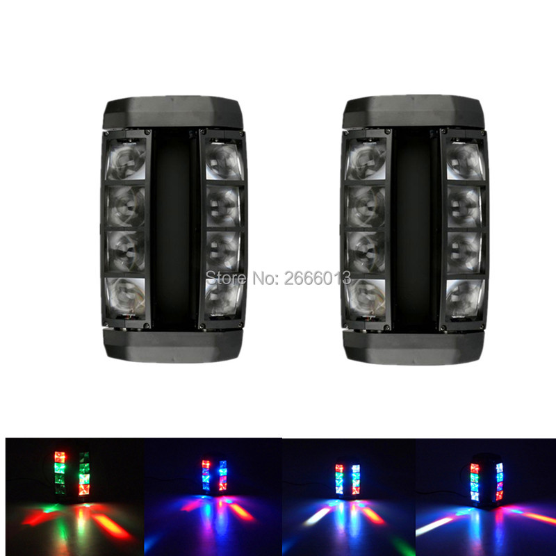 2pcs/lot Mini LED spider light DJ DISCO KTV lights RGBW LED Beam Light DMX512 stage effect lighting Wedding Home party LED Lamps 2pcs lot dmx512 rgbw 4in1 mini led moving head light for disco dj club home party and stage effect lights 10w led beam light