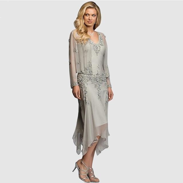 Um lindo Linha Chiffon Mãe dos Vestidos de Noiva com Mangas Longas Meados de Carf Casamento Vestidos de Festa Vestidos de Noite