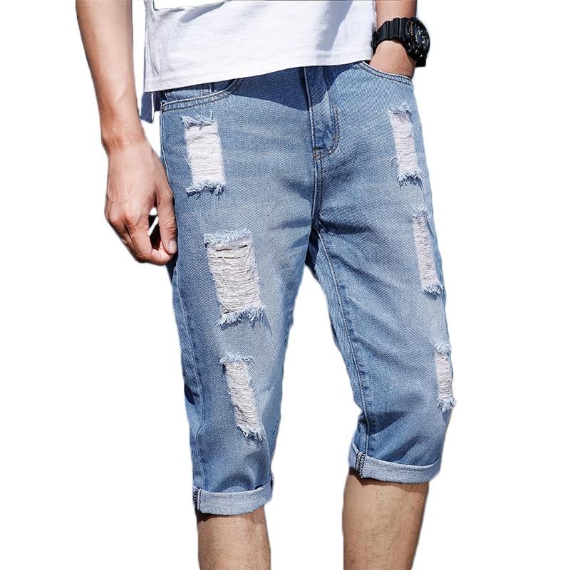 2018 Summer Casual Men Short Jeans Pant Ripped Hole Blue Half Jeans Men Knee Length Denim Cotton Slim Fit Streetwear Jeans Male