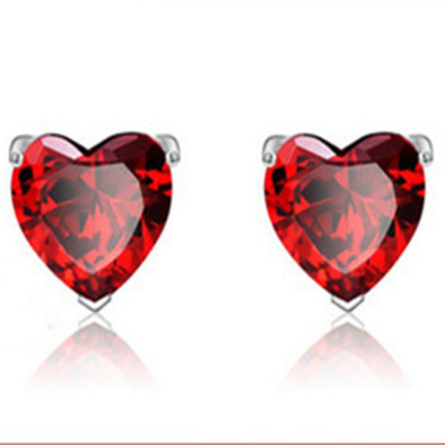 True Lovely Heart Shaped Earrings 925 Sterling Silver Red Garnet Crystal Inlaid