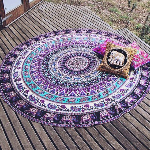 India Mandala Bulat Gajah Permadani Gantung Dinding Musim Panas Pantai Melempar Handuk Yoga Mat BoHo Dekorasi 150 Cm Handuk Pantai Bulat