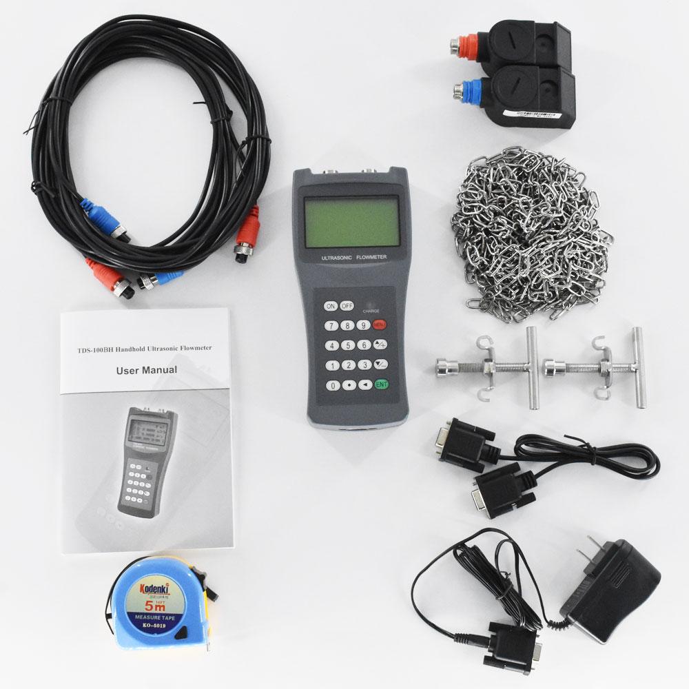 Medidor de flujo de líquido ultrasónico digital portátil Medidor de flujo de mano Transductor TDS-100H DN50-700mm M2