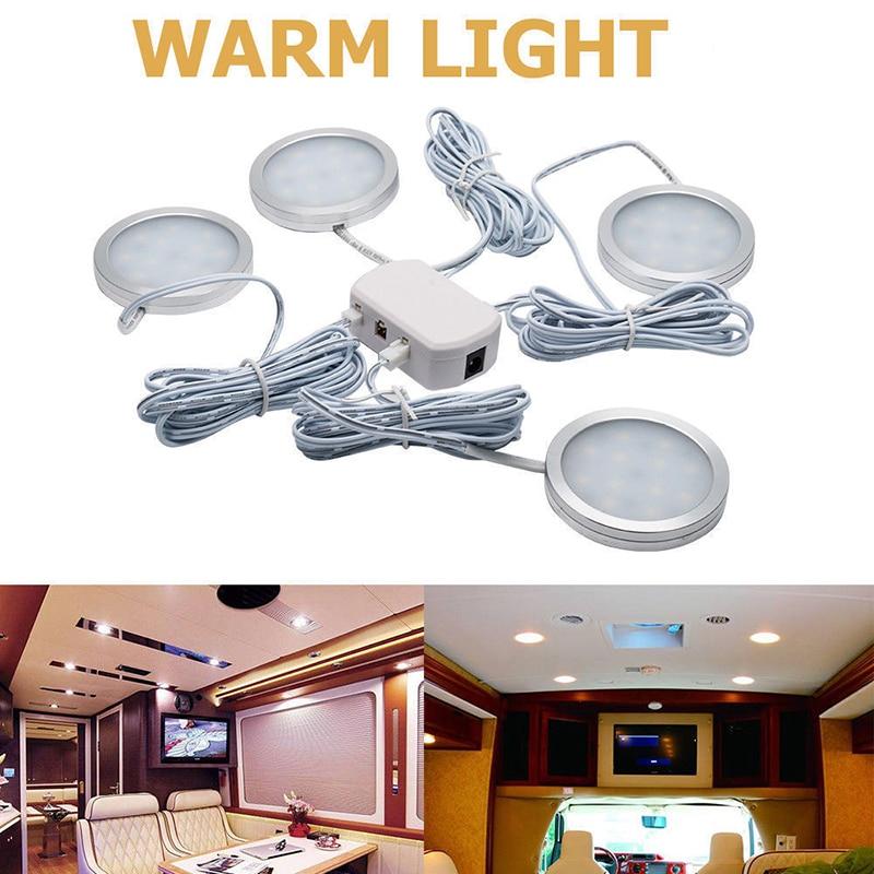 4x 12V Interior LED Spot Light Warm Light For Camper Van Caravan Motorhome Lamp