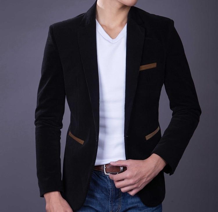 Meeste Slim Fit Velvet Suit Tuxedo jope Mees Kevad Sügis Must - Meeste riided - Foto 2