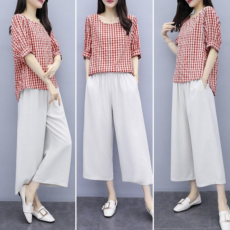M-4xl Cotton Linen Two Piece Sets Outfits Women Plus Size Plaid Blouses And Pants Suits Korean Elegant Casual 2 Piece Sets 2019 30