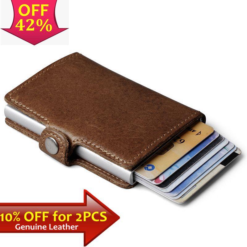 Couro genuíno, carteira masculina de alumínio com com bolso traseira para cartão de ID bloqueio RFID, carteira mágica mini automática, bolsa de cartão de crédito e moeda