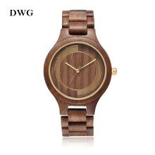 DWG Fashion Classic Import Movt Black Walnut Wood Watch Quartz Women Luxury Men Watch Solid Wooden Hand Clock Tree Strap Watch