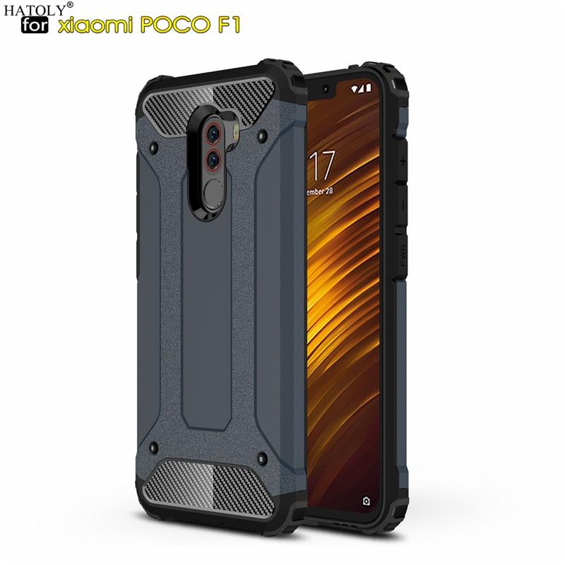 HATOLY Coque Xiaomi Pocophone F1 Case Mi Little F1 Heavy Armor Slim Hard Rubber Cover Silicone Case For Xiaomi Pocophone F1 6.2