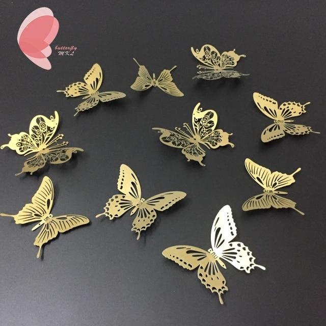 10Pcs/lot Gold/Silver 3D Butterfly Wall Decor Art Mirror Wall ...