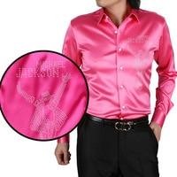 2017 new arrive dance king image crystal mount casual long sleeve silk men shirt plus size plus size 20 color