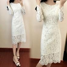 2019 Women Elegant Club Party Dresses O Neck Bodycon Long Sleeve Dress Sexy Lace Vestidos