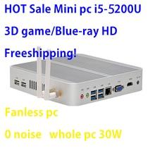 Intel Broadwell i5 5200U/5250U Intel HDกราฟิก 5500 Fanless I5 Mini PC Windows 7 Win8 WIN10 VGA HDMIมินิเน็ตบุ๊กHTPC