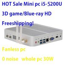 Mini Pc Intel Broadwell i5 5200u/5250u Gráficos HD Intel 5500 sin ventilador I5 Windows 7 win8 win10 VGA HDMI Mini Nettop Htpc