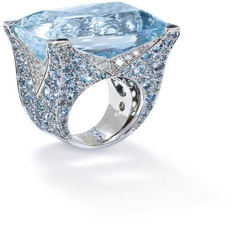 Blue Large Stone Princess Cut Silver Crystal Rings For