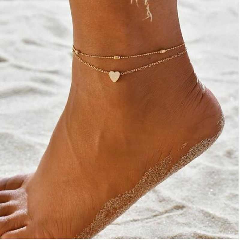 2019 シンプルなハートアンクレット素足かぎ針編みサンダルフットジュエリー脚新アンクレットに足足首女性のための cavigliera ドロップ無料