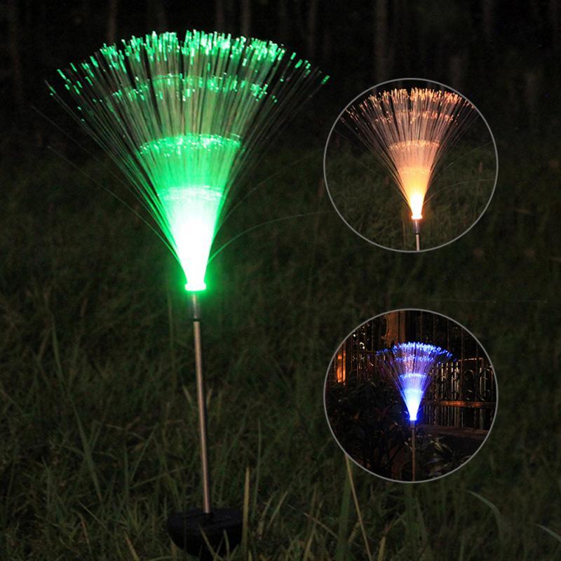 Fiber Optic Light Night Light Slim Battery Include Yard Fashion Colorful Changes Solar Power Lawn Lamp power fashion