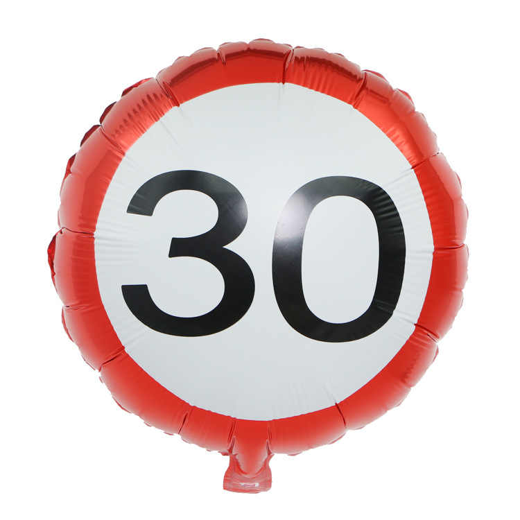 Traffic signs White Red Color 18/30/40/50/60 Number Foil Balloons Digit Balloons Decorations Birthday Party Supply 1pc
