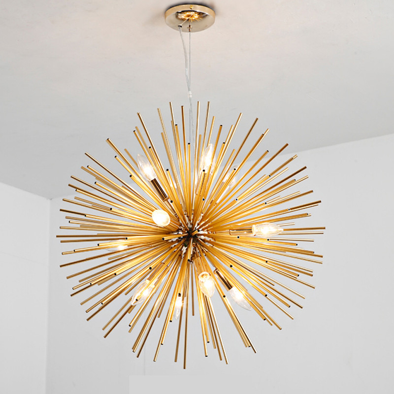 LED moderne étincelle Suspension dorée Suspension lampe luminaire salon Restaurant LED rayonnement sphère Art lumière B144