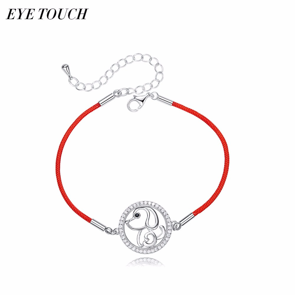 EYE TOUCH S925 Sterling Silver Bracelets Women Australian Rhinestone AAA Zircon Lucky Bracelet Red Rope Thread String Bracelets duoying 40 4 mm bar bracelets rope custom name bracelet personalize string bracelet friendship family bracelets jewelry for etsy
