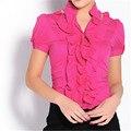 Novas Chegadas Mulheres Corpo Blusa Babados Camisa de Manga Curta Blusas Elegantes Tops Feminino Blusas Túnica Feminina Blusa Plus Size # B38