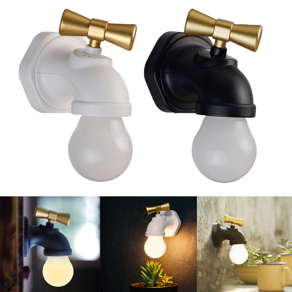 Retro Water Tap Lamp Voice/Light Control LED Night Light Faucet ...