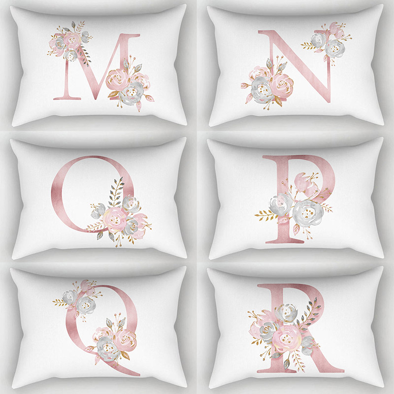 30*50cm English Alphabet Hot Sale High Quality Flowers <font><b>Pillow</b></font> <font><b>Case</b></font> Popular 1PC Cover household products 26 Letter image