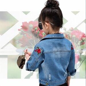 Image 5 - LILIGIRL Kids bluzki vintage odzież dla małe dziewczynki Denim kurtki 2019 Baby Rose Flower haftowane kurtki wiatrówka