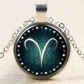 Venta caliente 12 constelaciones Aries Tiempo Gems Collar Colgante Del Zodiaco Joyería para Los Amigos Mejor magia de Navidad Regalos N0480