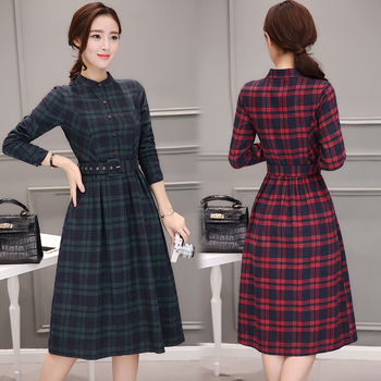 2019 Autumn Winter Plus Size Red Plaid Cotton Midi Dresses Women Elegant Korean Bodycon tshirt Dress Party Long Sleeve Vestidos 2