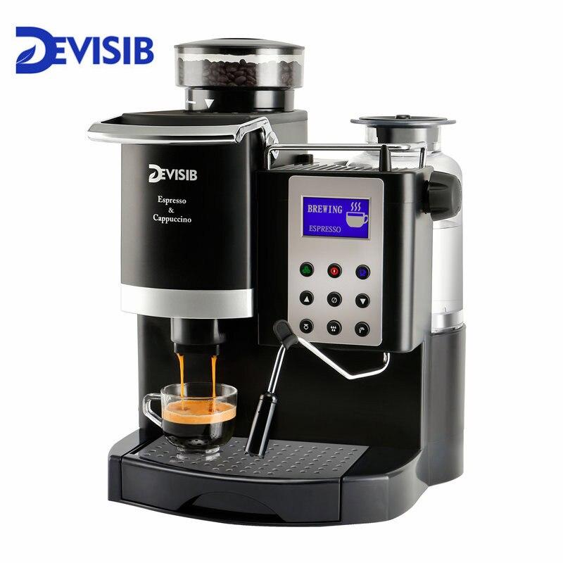 DEVISIB professionnel tout-en-un Machine à café expresso automatique Americano Maker 220 V/110 V avec broyeur à grains et mousseur à lait