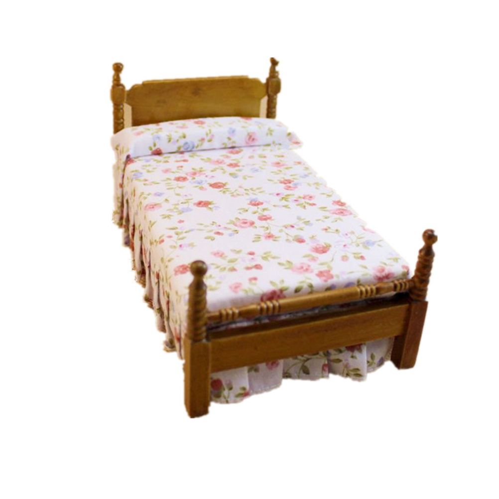 112 dollhouse wooden bed miniature furniture bed floral princess bedchina mainland bed wood furniture
